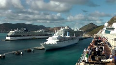 Stock Video Footage of Sint Maarten 113 Celebrity Mercury, Regal Princess and Thomson Celebration