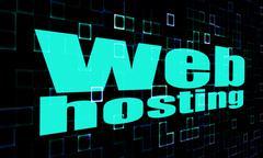 Web hosting word on digital background - stock illustration