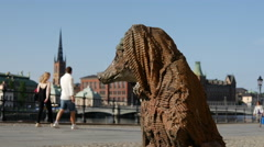 Stock Video Footage of Rag and bone with a blanket statue in Stockholm