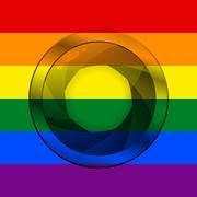 LGBT flag with camera shutter - stock illustration