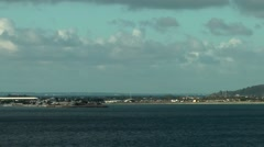 Sint Maarten 119 Simpson Bay with airport seen from water Stock Footage