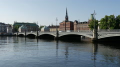 Pan from the Riddarholm Church and the Vasabron bridge in Stockholm Sweden Stock Footage