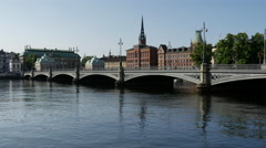 The Riddarholm Church and the Vasabron bridge in Stockholm Sweden Stock Footage