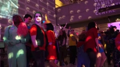 Halloween costume party at a night club Stock Footage