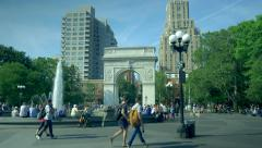People relaxing in Washington Square Park Stock Footage