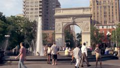 New York City, Crowded Washington Square Park in summer, people relaxing - stock footage