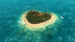 Plane over the heart-shaped island Stock Footage