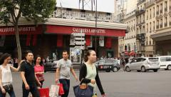 Tourists in front of Galleries Lafayette Stock Footage