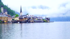 Hallstatt, Austria - UNESCO World heritage. Landmark view of the church Stock Footage