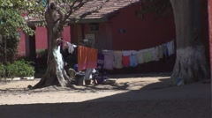 Clothesline of linen on the island of Gorée in the senegal africa Stock Footage