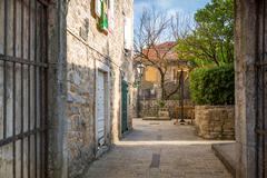 Stock Photo of Street of historical Budva old town
