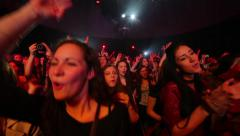 Young people dancing in a disco. Fans at the concert of idol. - stock footage
