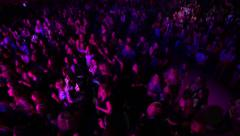 Disco in a nightclub. Young people dancing at the disco. Many people. - stock footage