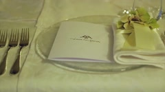 Stock Video Footage of Beautiful festive table setting for one person. Tableware.