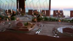 Serving on the table. Festive table. Preparation of the holiday. - stock footage