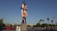 Roy Lichtenstein sculpture The Head in  Barcelona city Stock Footage