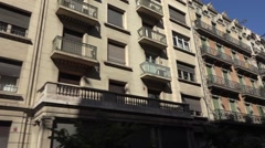 Old  facade -  architecture in Barcelona city in Spain Stock Footage