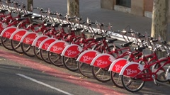 Rent bicycles in Barcelona city -spain Stock Footage
