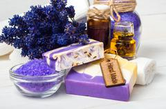 Lavender handmade soap and accessories for body care - stock photo