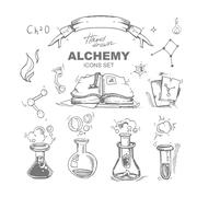 Alchemy icons set Stock Illustration