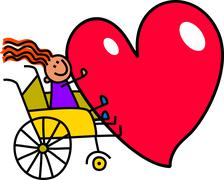 Disabled Girl with Big Heart - stock illustration