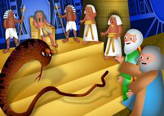 Moses and Aaron Before Pharaoh - stock illustration