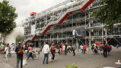 People walking in front of Centre Pompidou, Paris Stock Footage