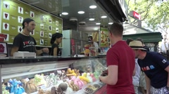 Ice cream sale in Barcelona city  - spain Stock Footage