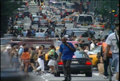 Busy NYC Streets in the 90s Stock Footage