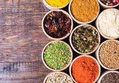 Various of Indian spices collection background . - stock photo