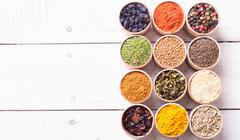 Various of Indian spices collection background . Stock Photos