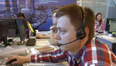 Call center operator handles calls in the trading company Stock Footage