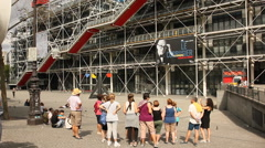 Visitors in front of Centre Pompidou Stock Footage