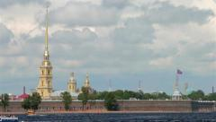 Peter and Paul fortress in Saint-Petersburg Stock Footage