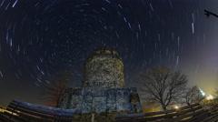 Bismarckturm Radebeul Startrails Night Sky Timelapse Stock Footage