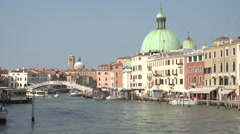 Stock Video Footage of San Simeone Piccolo and Ponte degli Scalzi at Canal Grande, time lapse