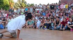 Breakdancing. A b-boy performing outside Stock Footage