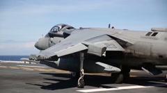 Stock Video Footage of AV-8B Harrier jet pilots practice short takeoffs and vertical landings