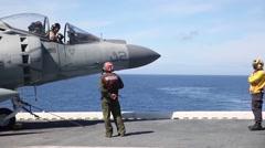 AV-8B Harrier jet pilots practice short takeoffs and vertical landings Stock Footage