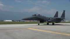 RAF Lakenheath F-15's Eagle Visit Aviano Stock Footage