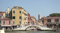 Stock Video Footage of Bridge and ferry at Canal Grande