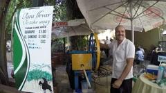 Sugar Cane Juice in Havana, Cuba Stock Footage