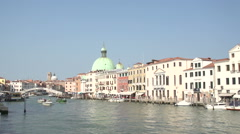 Stock Video Footage of San Simeone Piccolo and Ponte degli Scalzi at Canal Grande