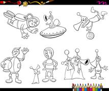 aliens cartoon coloring page - stock illustration