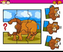 puzzle preschool cartoon game - stock illustration