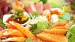 Japanese food set cooked and raw. Aburi with sashimi set Stock Footage