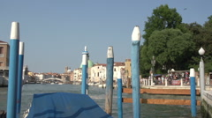 Stock Video Footage of Blue poles at the Canal Grande