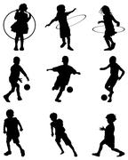 children playing - stock illustration