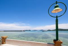 Lamp at sea viewpoint in Panwa Cape, Phuket, Thailand - stock photo