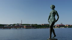 Woman statue at the Stockholm City Hall in Sweden Stock Footage